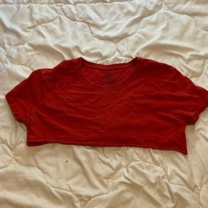 Jerzees Very short red crop top, size large.